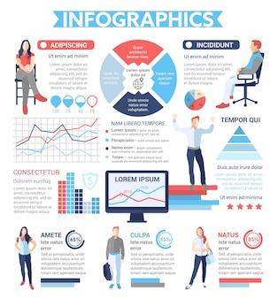 Infographics di persone - poster informativo, layout del modello di copertina dell'opuscolo con icone, altri elementi di informazione e testo di riempimento