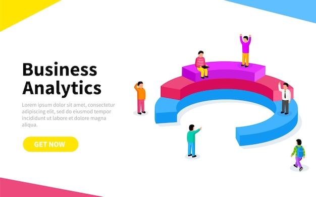Persone che interagiscono con grafici e analizzano statistiche e dati. modello di pagina di destinazione