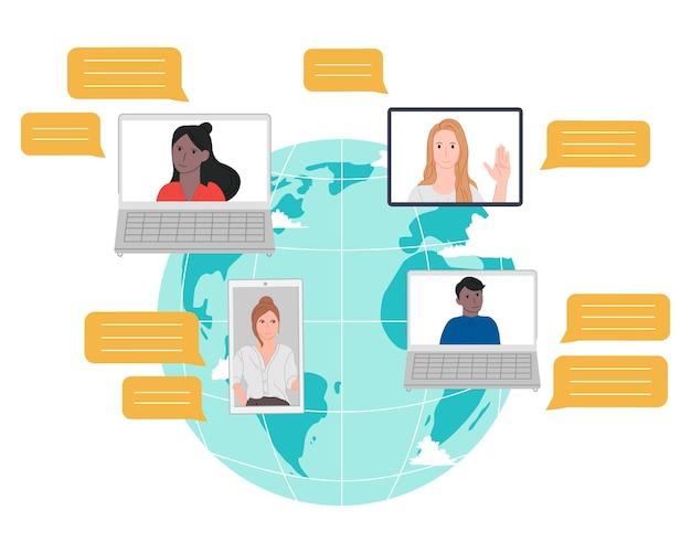 Persone in internet da tutto il mondo