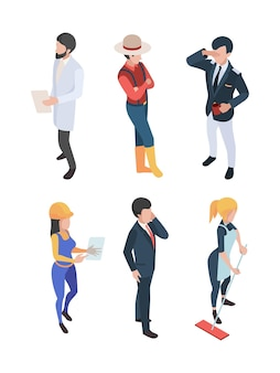 Persone isometriche. professioni lavoro persone lavoratori diversi ingegnere uomo d'affari medico chef contadino caratteri.