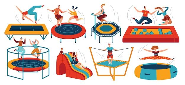 Persone che saltano trampolini impostati