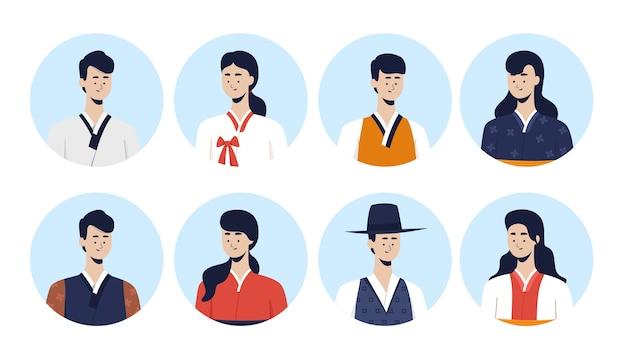 Persone di coreano che indossano hanbok. edizione corea di avatar. illustrazione piatta.