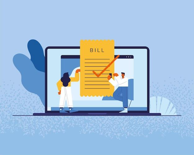 Persone e laptop con fattura di pagamenti online