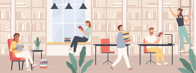 Persone in biblioteca. uomini e donne leggono libri, studenti studiano con libri e gadget nel concetto di vettore interno della biblioteca pubblica. ragazza sulla scala che prende un libro, persone alla scrivania e alle sedie
