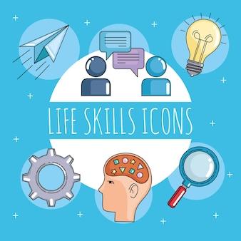 Icone delle abilità di vita delle persone