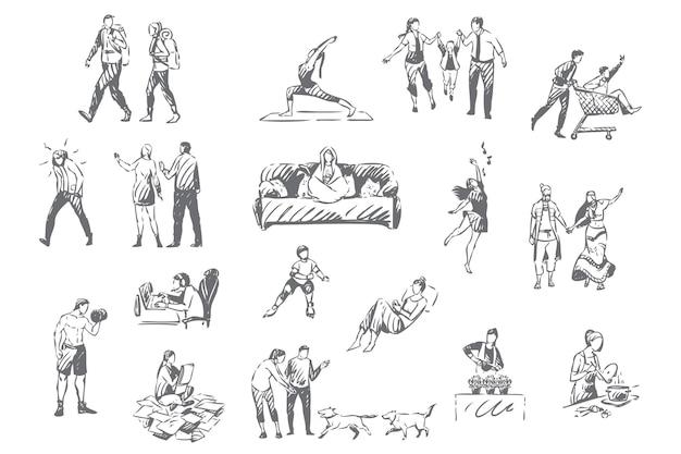 Persone stile di vita introverso ed estroverso attività passatempo impostare illustrazione