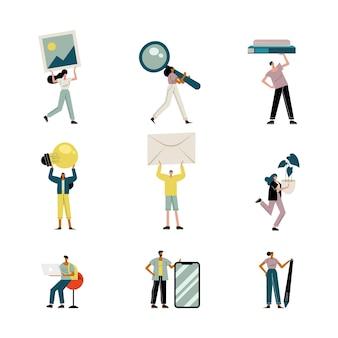 Persone che sollevano oggetti avatar personaggi illustrazione