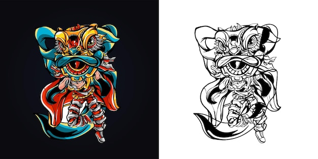 Illustrazione del materiale illustrativo di danza del leone della gente