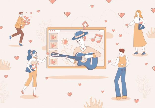 La gente che ascolta il concerto online mostra e vota l'illustrazione del profilo del fumetto. uomo che suona musica con la chitarra.