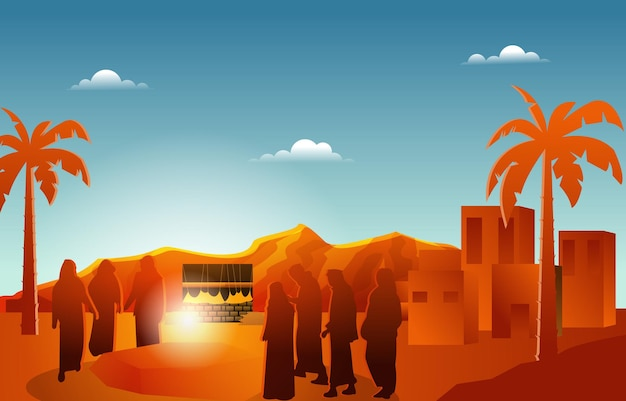 Persone che ascoltano il sermone nabi profeta muhammad islam storia illustrazione islamica