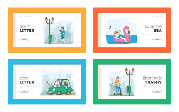 Persone che sporcano, insieme di modelli di pagina di destinazione dell'inquinamento