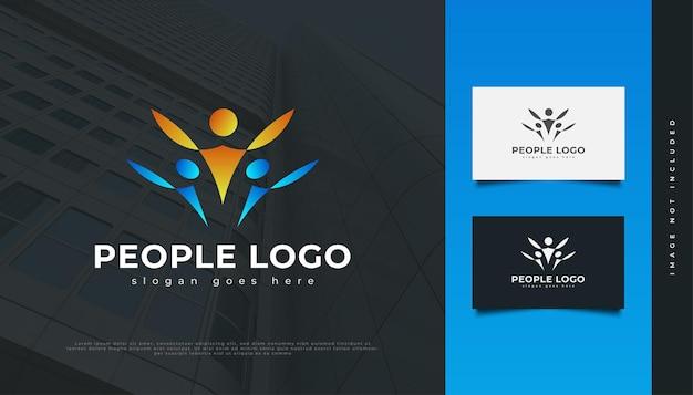 Disegno di marchio di persone. persone, comunità, rete, hub creativo, gruppo, logo o icona di connessione sociale per l'identità aziendale