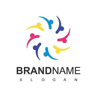 People logo society lavoro di squadra e simbolo della comunità