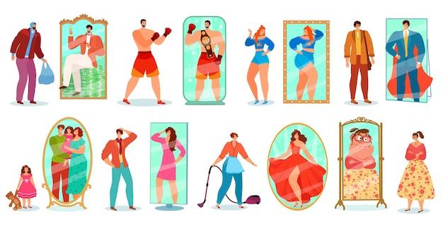 Persone che guardano riflessioni a specchio insieme di illustrazioni