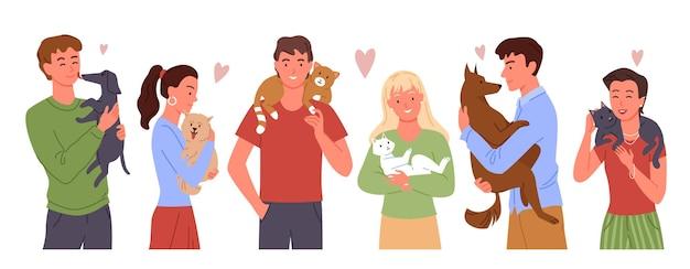 La gente ama i propri animali domestici illustrazione set.