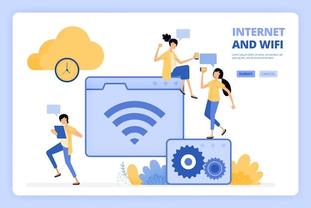 La gente ama usare internet e illustrazione wifi