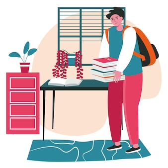Persone amanti della letteratura con il concetto di scena di libri. uomo con pila di libri, studente in biblioteca. attività di apprendimento, hobby e tempo libero. illustrazione vettoriale di personaggi in design piatto