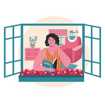 Persone amanti della letteratura con il concetto di scena di libri. la donna legge il libro seduto nella finestra aperta della casa. attività di apprendimento, hobby e tempo libero. illustrazione vettoriale di personaggi in design piatto