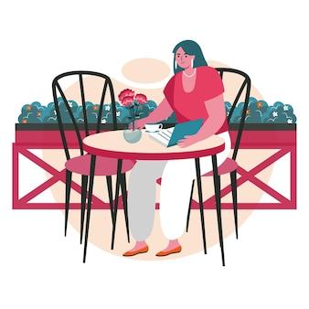 Persone amanti della letteratura con il concetto di scena di libri. la donna legge il libro seduto al tavolo del caffè. attività di apprendimento, hobby e tempo libero. illustrazione vettoriale di personaggi in design piatto