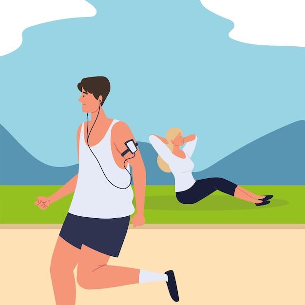 Persone che fanno esercizi
