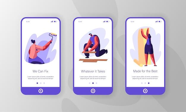 Persone che fanno un nuovo set di schermo a bordo della pagina dell'app mobile di ristrutturazione.