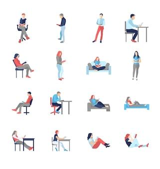 Persone, maschi, femmine, in diverse pose di lettura comune casual - set di icone isolato design piatto moderno. tenere il libro, leggere, pensare, alla scrivania, sulla sedia, sul divano