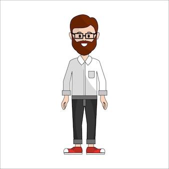 Persone, uomo con un panno casual con occhiali icona di avatar