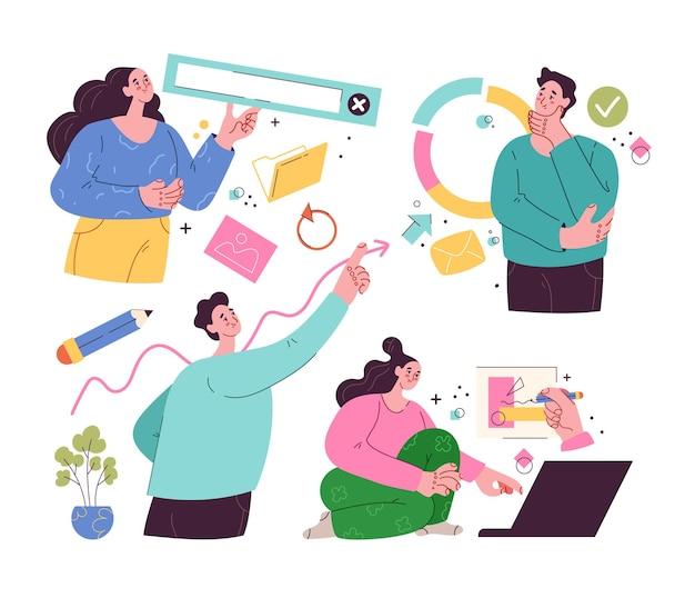 Persone uomo donna personaggi che fanno affari internet attività online concetto di lavoro di squadra insieme di stile moderno isolato piatto vettoriale