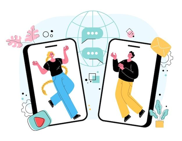 Persone uomo donna personaggi che parlano utilizzando smartphone online da internet