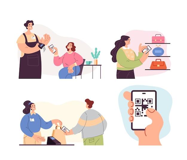 Persone uomo donna caratteri utilizzando il telefono per eseguire la scansione del codice qr e leggere le informazioni e pagare