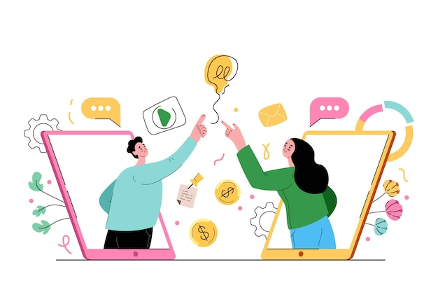 Persone uomo donna progetto di sviluppo insieme tramite internet online concetto di cooperazione su internet vector piatto isolato stile moderno illustrazione