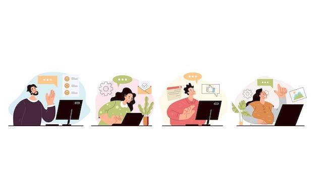 Persone uomo donna operatore lavoratori che danno consulenza online