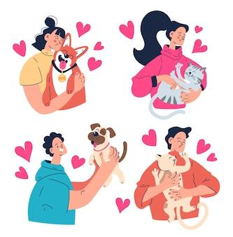 Persone uomo donna proprietari che abbracciano i loro animali domestici cane gatto