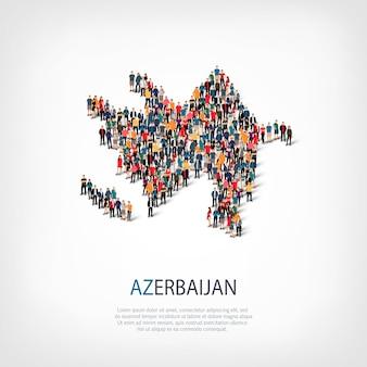 La gente mappa paese azerbaigian Vettore Premium