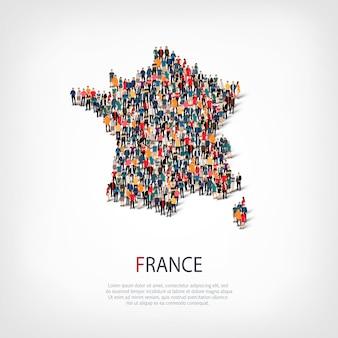 Persone mappa paese francia