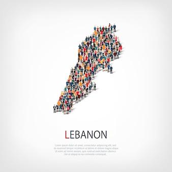 Persone sulla mappa del paese libano