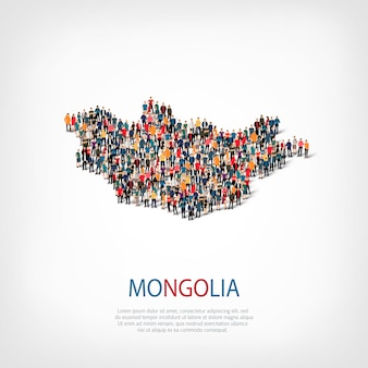 La gente mappa paese mongolia