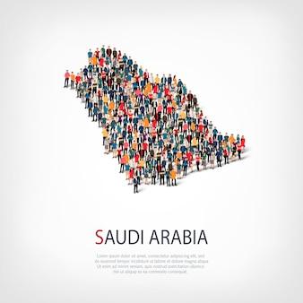 Persone sulla mappa del paese arabia saudita