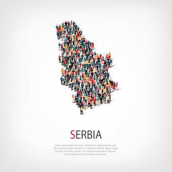 Persone sulla mappa del paese serbia