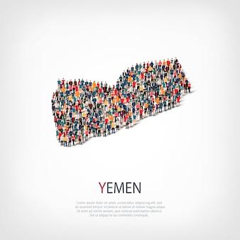 Persone sulla mappa del paese yemen