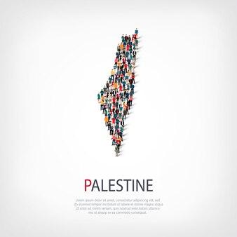 Persone, mappa della palestina. folla che forma una forma di campagna.