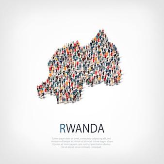 Persone, mappa del ruanda. folla che forma una forma di campagna.