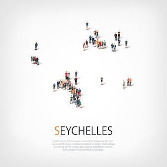 Persone, mappa delle seychelles. folla che forma una forma di campagna.