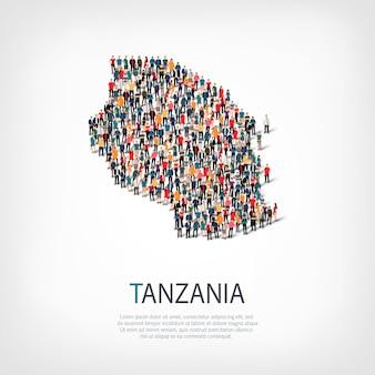 Persone, mappa della tanzania. folla che forma una forma di campagna.