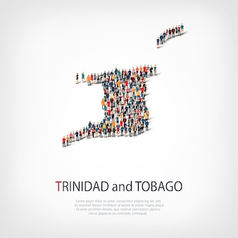 Persone, mappa di trinidad e tobago. folla che forma una forma di campagna.