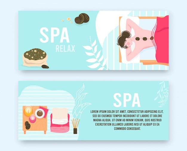 Persone nel set piatto illustrazione massaggio spa salone di bellezza. paziente di bella donna del fumetto rilassante e sdraiato con pietre calde sulla schiena, trattamento di cura del corpo di lusso, striscioni di procedure di massaggio