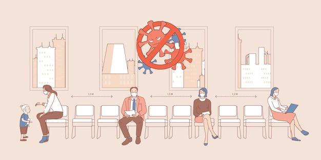 Persone in maschere mediche che si siedono nella linea e che tengono l'illustrazione del profilo del fumetto di distanza sociale sicura.