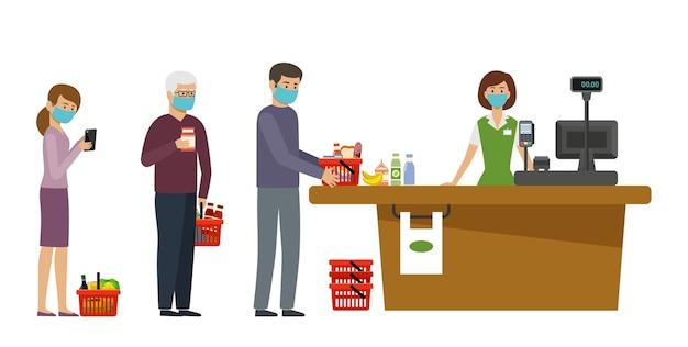 Persone in maschera medica stanno in coda al supermercato