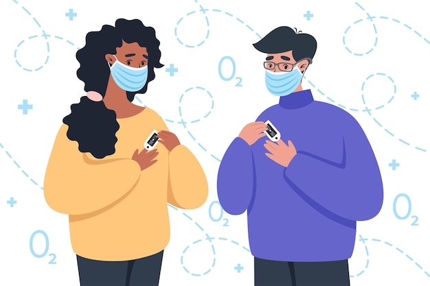 Persone in maschere mediche che utilizzano un dispositivo pulsossimetro