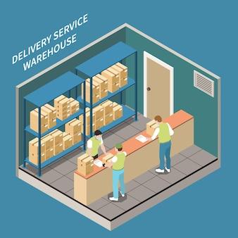 La gente in maschere mediche che lavora nel magazzino del servizio di consegna prende l'illustrazione isometrica 3d dell'ufficio del punto